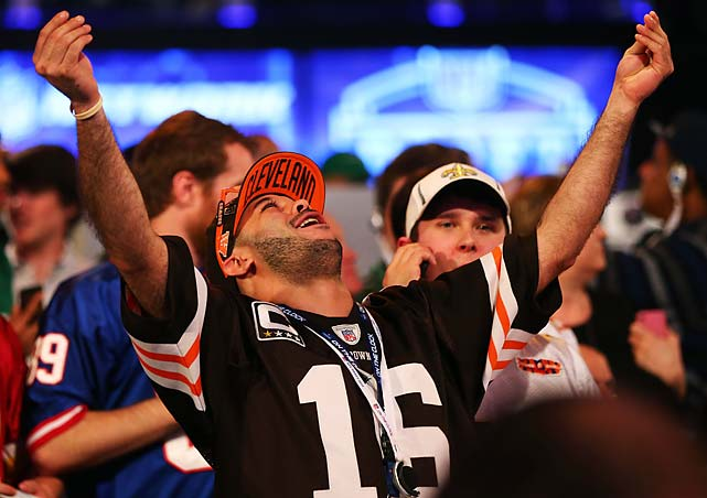 A fan mimics Johnny Manziel after the Texas A&M quarterback was picked No, 22 overall by the Cleveland Browns.