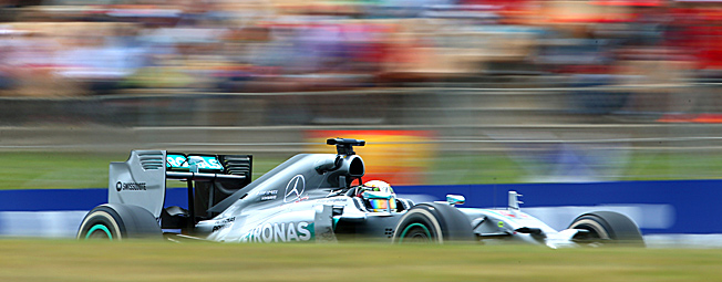 There's Mercedes and there's everyone else: Lewis Hamilton extended his team's romp this season.