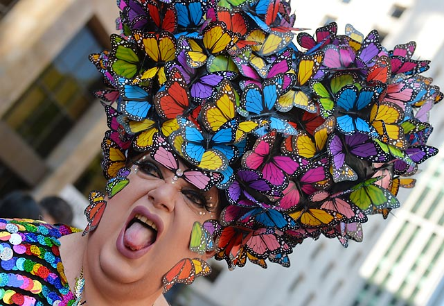 Spring foliage was bustin' out all over Sao Paulo, Brazil, where 3.5 million colorful individuals were expected to participate in the grand procession.