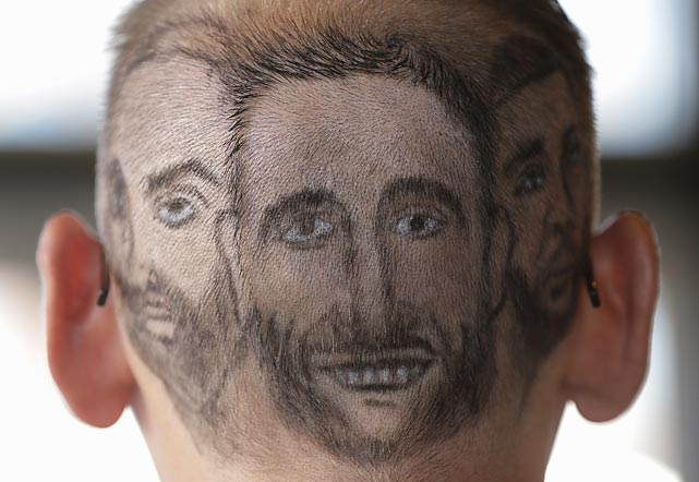 Heady times in San Antonio for Paul Fisher, whose 'do sports likenesses of Tony Parker, Manu Ginobili, and Tim Duncan.