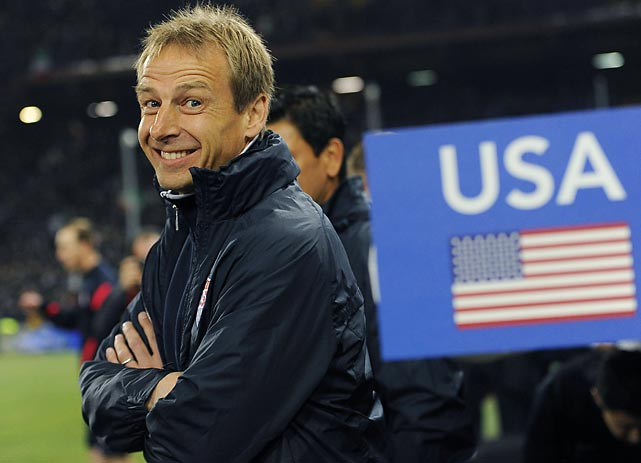 Waiting for the start of a match against Italy in 2012, Klinsmann cracks a smile. Before taking the U.S. job, he'd followed MLS and been a presence at soccer events around the country since 1998, when then-MLS Deputy Commissioner Sunil Gulati tried to get him to sign with the Los Angeles Galaxy as a player.