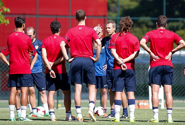 Jurgen Klinsmann addresses the team in Sao Paulo in January 2014. Known for picking his squads on performance and not reputation, Klinsmann held true to his reputation in mid-May by leaving striker Eddie Johnson out of the World Cup pool in favor of the in-form Terrence Boyd and Chris Wondolowski.