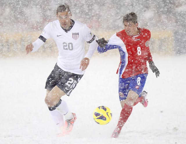 Fighting the elements in a game that will forever be known as the SnowClasico, Geoff Cameron of the U.S. and Costa Rica's Bryan Oviedo wrangle for the ball. The U.S. won 1-0 on March 22, 2013, in Commerce City, Colo., thanks to another big goal from Clint Dempsey.