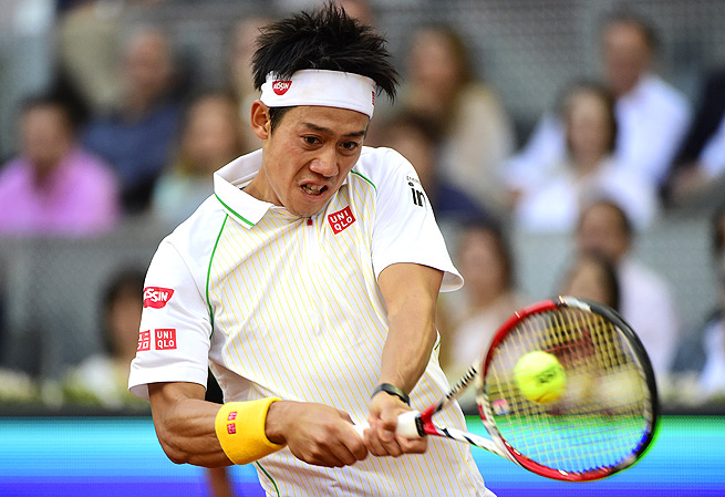 Kei Nishikori took the first set against Rafael Nadal in the Madrid Open final, but retired with injury.