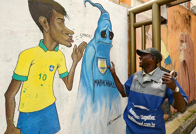 "Nothing warms the heart of a humble peddler quite like a graffiti depicting Brazil's Neymar planting a farewell buss on the ghost of the ""Maracanazo"" (the nation's galling defeat by Uruguay in the 1950 World Cup final). The residents of Rio de Janeiro are already geeked about this year's World Cup that runs from June 12 to July 13."