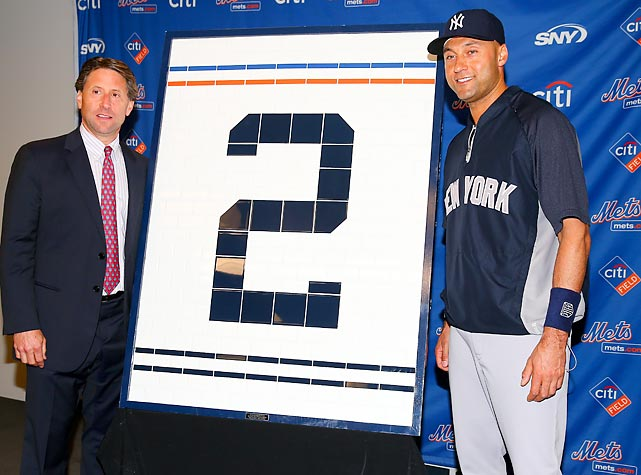 The Jeter Farewell Merchandise Bonanaza continued in Flushing where the Yankee icon was presented with his number made from old Shea Stadium restroom tiles by the Mets' COO during a touching ceremony at Citi Field.