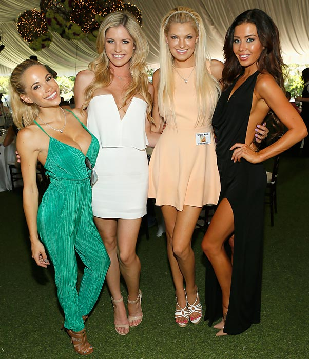 (<italics>Left to right</italics>) Dani Mathers, Carly Lauren, Kristen Nicole and Gemma Lee Farrell awaited the big announcement at Hugh Hefner's hovel in Holmby Hills, CA. The winner of the prestigious award was Kennedy Summers, 27, a Berlin-born, Virginia-raised model with a bachelor's degree in anthropology and a master's degree in health administration who intends in her copious spare time to become a plastic surgeon. She also speaks fluent French and German.