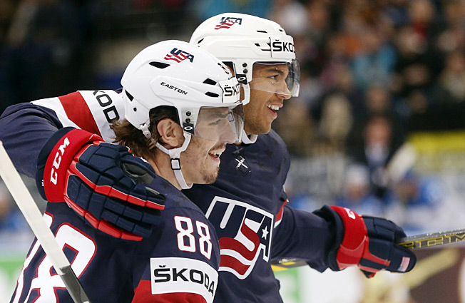 Peter Mueller and Seth Jones celebrated one of Team USA's few bright moments at the Worlds.