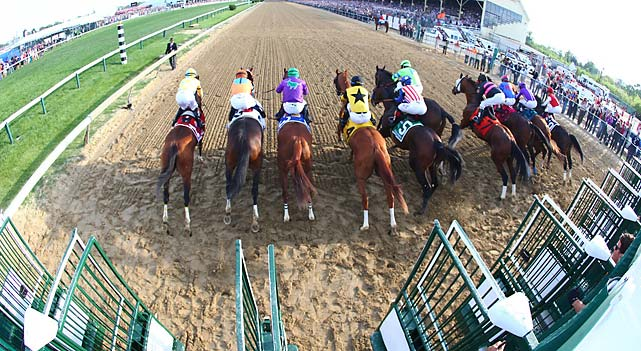 While the three horses to his right got bunched up quickly, California Chrome got off to a clean start.
