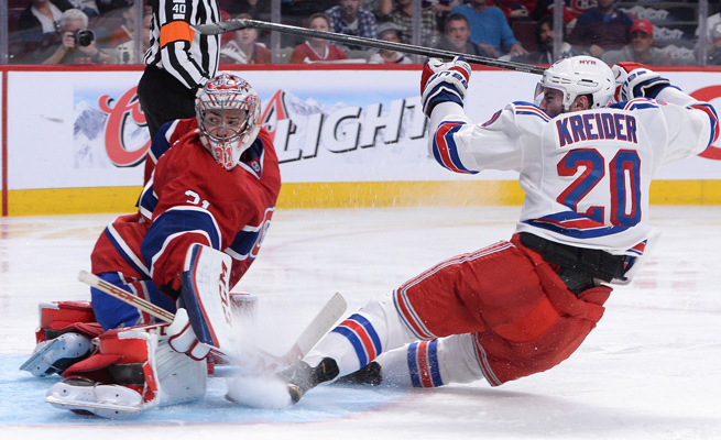 A collision with Rangers forward Chris Kreider left Habs goalie Carey Price in visible pain.