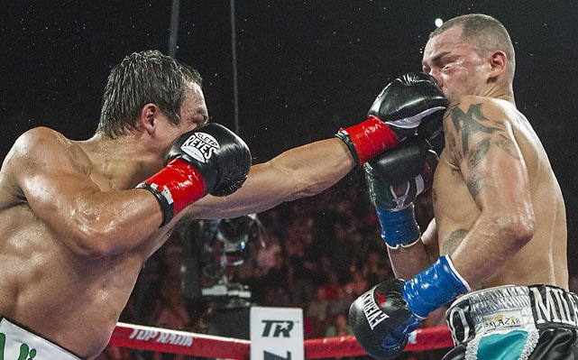 Juan Manuel Marquez connects with a left to Mike Alvarado on his way to victory at the Forum in Inglewood, Calif., the first fight at the location since 2004.