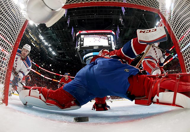 Mats Zuccarello of the New York Rangers beats Montreal's Carey Price for a goal.
