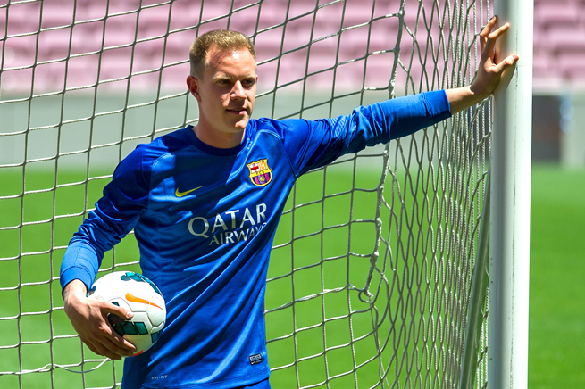 New Barcelona goalkeeper Marc Andre ter Stegen poses in his new uniform after signing a five-year deal with the Spanish power.