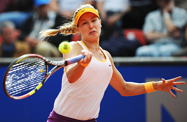 Eugenie Bouchard ousted Karin Knapp, and will play for her first WTA title in Nuremberg.