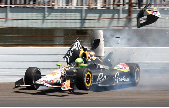 Townsend Bell crashes in the second turn. The crash brought out the red flag to stop the race on lap 192.