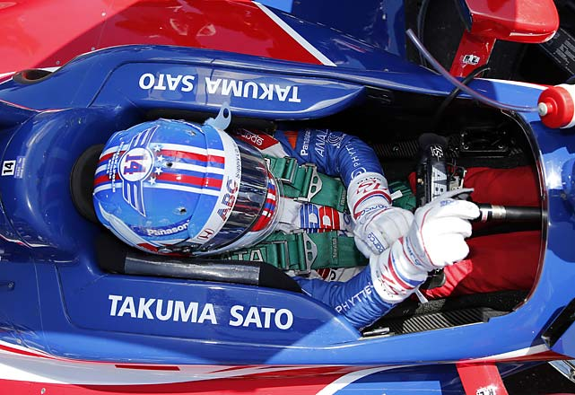 Takuma Sato, of Japan, prepares to drive before the start of the 98th running of the Indianapolis 500.