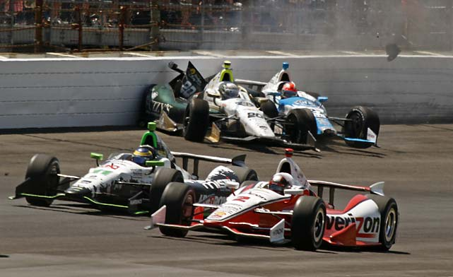 "A risky three-wide move on a late restart caused pole-sitter Ed Carpenter (20) and James Hinchcliffe (27) to wreck. ""The moment when Hinch decided to make it three-wide was more than any of us could handle,"" a livid Carpenter said. ""Let's just say it was good thing he already had a concussion last week."""