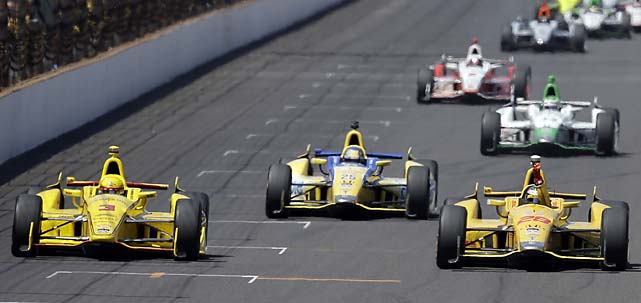 Photos from the 2014 Indianapolis 500, where Ryan Hunter-Reay (right) passed Helio Castroneves (far left) on the final lap to win in the second-closest finish in history, by 0.060 seconds.