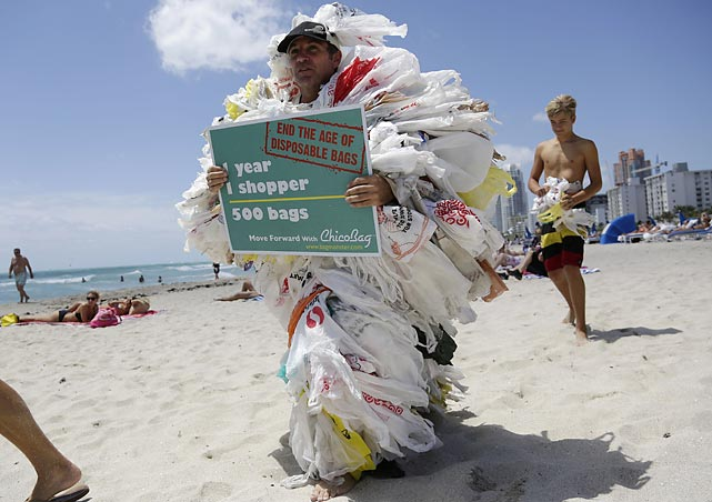 Bag man: Steve Vincenti of Miami dramatically decked himself out in 500 plastic shopping bags to protest their use. He was one of the more arresting sights at a series of simultaneous events around the globe intended to raise mankind's awareness that it really oughta end its dependence on fossil fuels and transition to clean energy and reusable shopping sacks.
