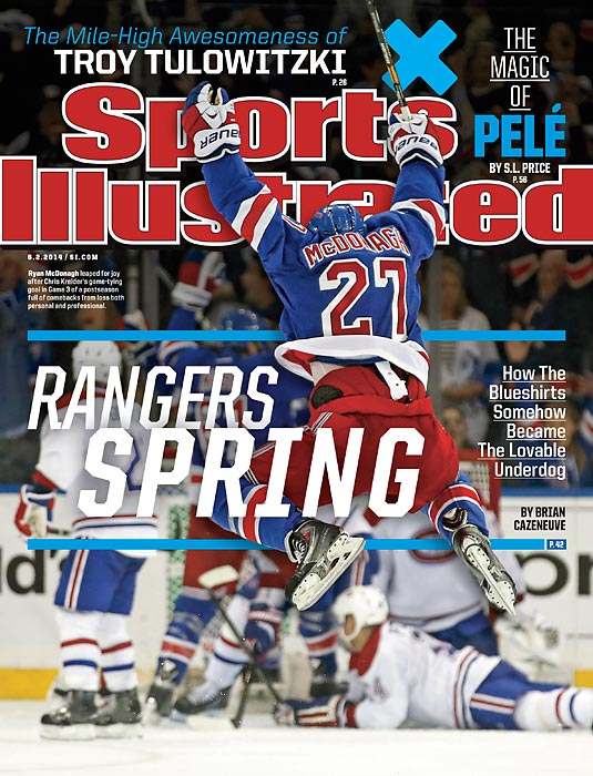 June 2, 2014  |  From out of the shadow of tragedy, the Rangers have gone on a stirring playoff run that has fueled the passion of their devoted fans, summoned memories of the team's epic journey to the Stanley Cup in 1994 and become one of the most compelling stories of the NHL's postseason. In this week's issue of Sports Illustrated, Brian Cazeneuve examines how the Broadway Blueshirts, with new coach Alain Vigneault and a mix of veteran stars and homegrown talent, have shed decades of mediocrity.