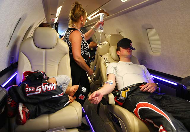 Busch gets an IV and some sleep while taking a 47-minute ride on the Cessna Citation X that took him to Charlotte.