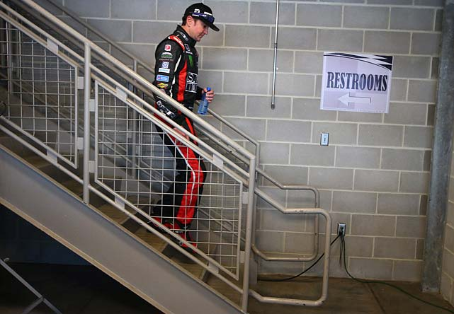 Busch makes his way to the green room.