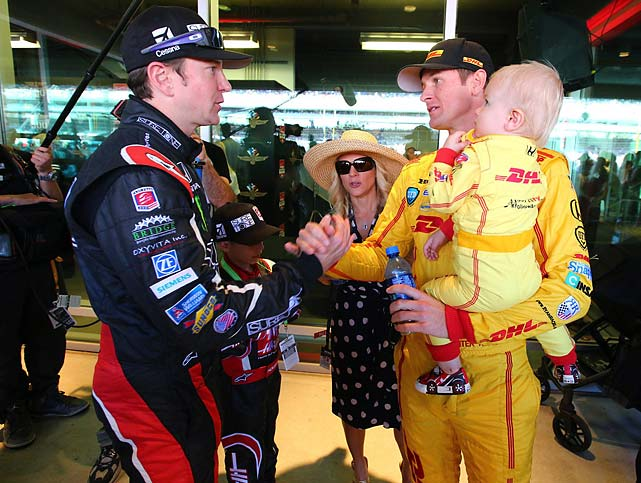 Busch chats with Ryan Hunter-Reay and his family in the green room. Hunter-Reay would go on to become the first American to win the race since 2006, while Busch would finish a very respectable sixth.