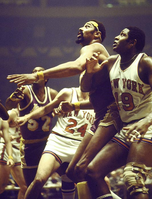 The Lakers and Knicks clashed in a rematch of the previous year, but this time it was New York in five, and Knicks center Willis Reed (19), not L.A.'s Wilt Chamberlain (center), named MVP (16.4 points, 9.6 rebounds).