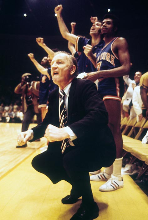 New York Knicks coach Red Holzman celebrates on the sidelines during Game 5. Earl Monroe scored 23 points for the Knicks in the series-clincher.