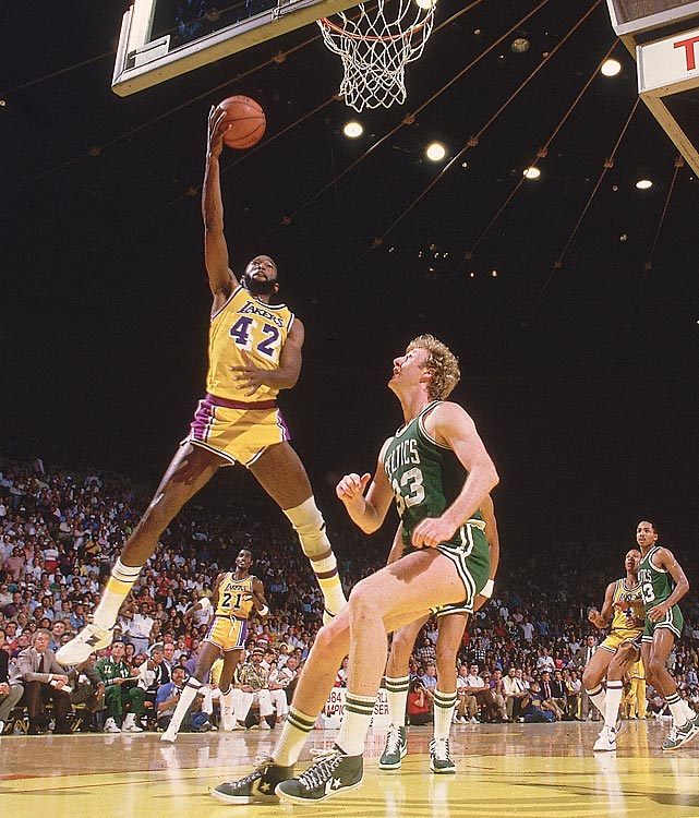 Los Angeles forward James Worthy rises to score over Boston's Larry Bird during a 119-108 Game 6 Lakers victory.