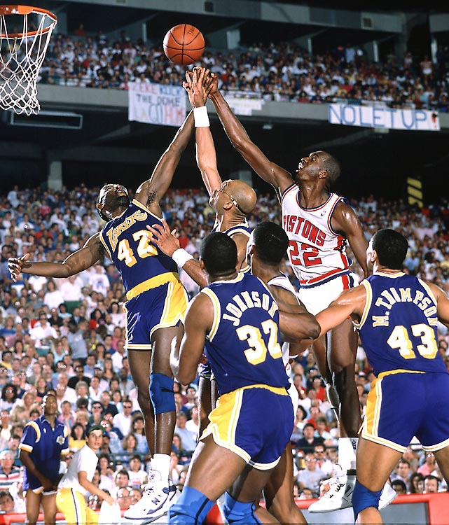 In Game 7 James Worthy (42) again shouldered the load for Los Angeles, recording a triple-double with 26 points, 16 rebounds and 10 assists to secure another Lakers title and Finals MVP accolades.