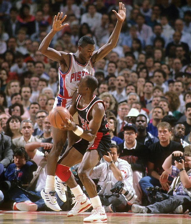 Joe Dumars of the Pistons defends Terry Porter of the Trail Blazers in Game 1. The backcourt of Isiah Thomas (27.6 points per game) and Dumars (20.6) propelled Detroit to the championship in five games. Vinnie Johnson hit the series-clinching jumper at the end of Game 5.