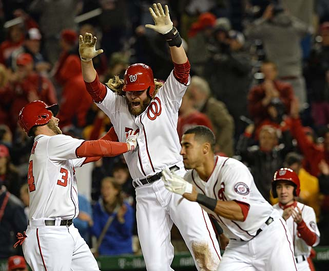 Jayson Werth celebrates after scoring the game-winning run off of an Adam LaRoche RBI single against the Los Angeles Angels of Anaheim on April 23.