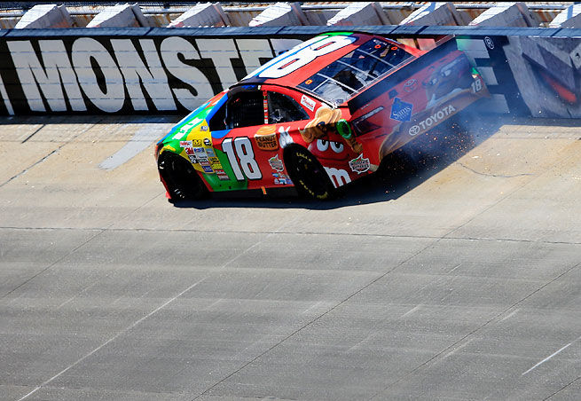 Kyle Busch's car hit the wall during Lap 124 of the FedEx 400 Benefitting Autism Speaks at Dover.