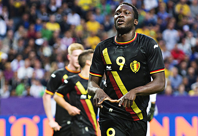 Belgium's Romelu Lukaku celebrates his 34th-minute goal that proved to be the game-winner.