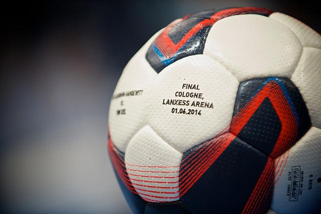 The official game ball is pictured before the Champions League Final.