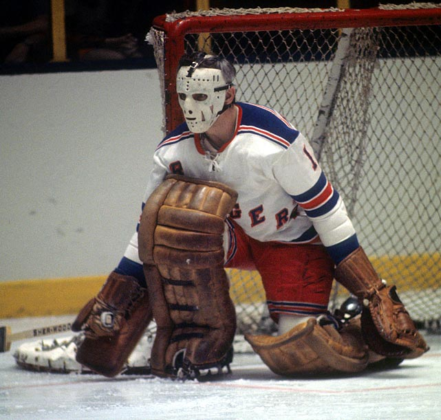 "Beloved on Broadway, Giacomin won 266 games during his NHL career, the first 10 years of which were spent with New York. Until 2014, when Henrik Lundqvist recorded his 50th career shutout, Giacomin was the club's all-time leader, with 49. On October 31, 1975, he was waived and claimed by Detroit, making his Red Wings debut at Madison Square Garden two nights later. The chants of ""Eddie! Eddie!"" produced one of the most emotional nights in the history of the franchise. He was enshrined in the Hockey Hall of Fame in 1987 and his No. 1 hangs from the Garden rafters."