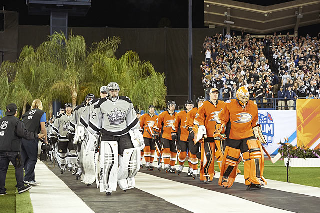 On Jan. 25, the Kings took hockey outside in California for the first time, hosting the opener of the NHL's Stadium Series, which also included two matches in New York and one in Chicago. The festivities at Dodger Stadium included the presence Wayne Gretzky, a celebrity hockey game featuring Kings president of business operations Luc Robitaille and actor Cuba Gooding, Jr., plus musical performances by KISS and Five For Fighting. As for the main event in front of 54,099 fans, L.A. was blanked 3-0 by its division-leading local rivals, the Anaheim Ducks, in the league's first regular-season outdoor game ever played in such a southern, warm weather climate. <bold>GALLERY: The NHL Outdoors</bold>