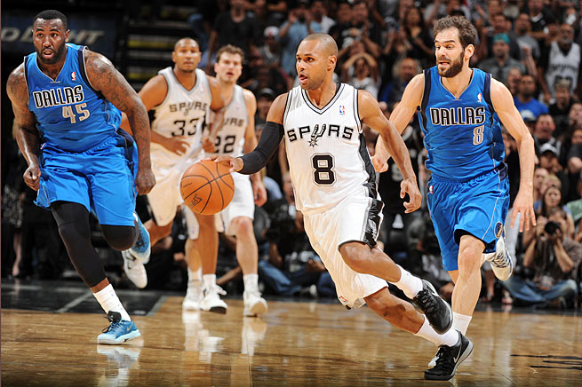 An in-shape Patty Mills (8) has filled an important backcourt role behind point guard Tony Parker.