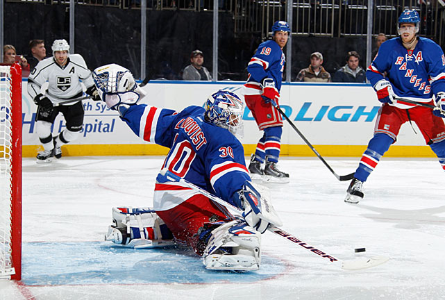 "Henrik Lundqvist's impending unrestricted free agency after the season was a source of distraction and whispers that the King might be planning to leave. Contract talks went slowly and Lundqvist's play seemed affected by it. The controversy hit a peak when the former Vezina Trophy-winner was a healthy scratch in consecutive games, but on Dec. 4 he agreed to a seven-year, $59.5 million extension that firmly established him as the NHL's highest-paid goalie. ""I know there's been some speculation,"" he told reporters. ""But from the heart, it was never an option to leave this club."" Added GM Glen Sather: ""So it's up to you, Henrik ?now just carry us on your shoulders."""