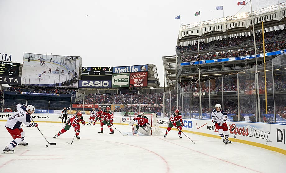 One day after the Kings and Ducks had skated in the balmy, 60-degree confines of L.A.'s Dodger Stadium, the Rangers met their cross-Hudson River rivals, the New Jersey Devils, on a frigid Sunday afternoon, Jan. 26, in New York's famed Yankee Stadium. New York was technically the visiting team, but it was more than well-supported by the sellout crowd of 50,105, which saw the Rangers rally to demolish the Devils, 7-3.