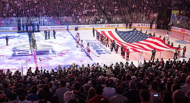 The Staples Center crowd stands for the National Anthem before Game 1 of the Stanley Cup Final.