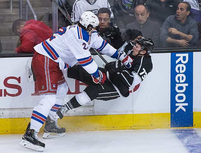 Brian Boyle draws a reaction from the crowd while checking Tyler Toffoli.