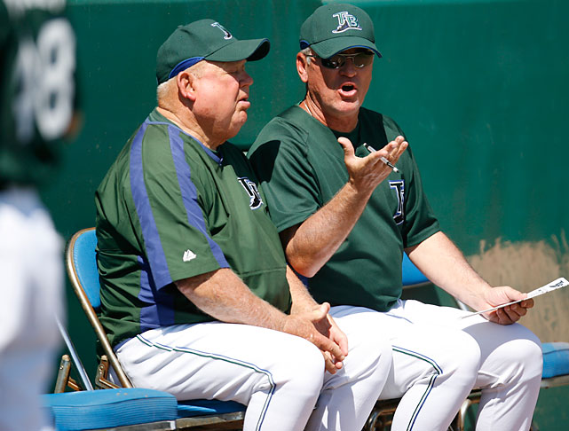 Rays manager Joe Maddon and Zimmer chop it up during a spring training game.