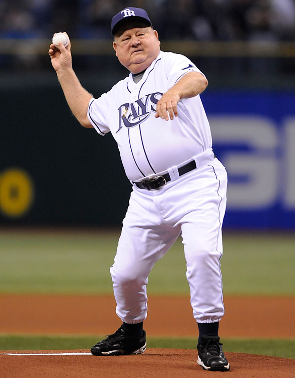 Zimmer tosses a pitch before Game 7 of the 2008 ALCS against the Red Sox. With the Rays, Zimmer adjusted the number on the back of his jersey by one every year to represent his number of years spent in baseball. 2014 was number 66.