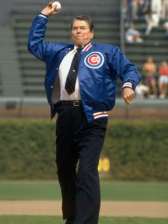 President Reagan throws out the first pitch before a Chicago Cubs game against the Pittsburgh Pirates at Wrigley Field in Chicago.