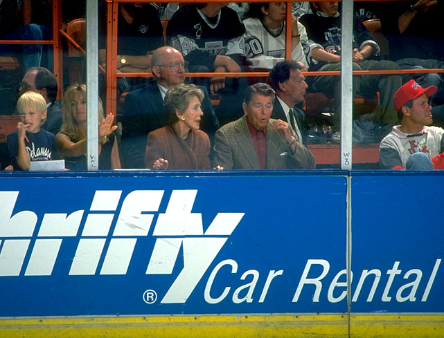 Former President Reagan watches the Los Angeles Kings play the Montreal Canadiens in Game Three of the Stanley Cup Final alongside wife Nancy Reagan, Goldie Hawn and Disney CEO Michael Eisner in Los Angeles.