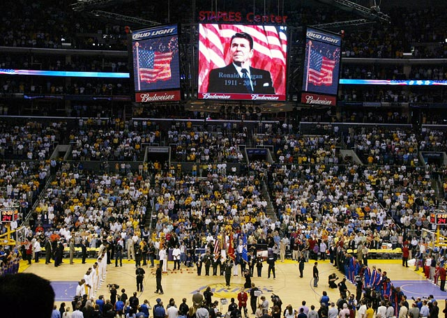 One day after his passing, former President Ronald Reagan is commemorated before the start of Game One of the NBA Finals between the Detroit Pistons and the Los Angeles Laker at the Staples Center in Los Angeles.