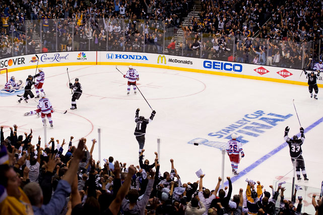 The Kings celebrate a victory that put them up 2-0 in the best-of-seven series.