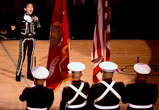 Twelve-year-old Sebastien de la Cruz provided a stunning rendition of the national anthem.